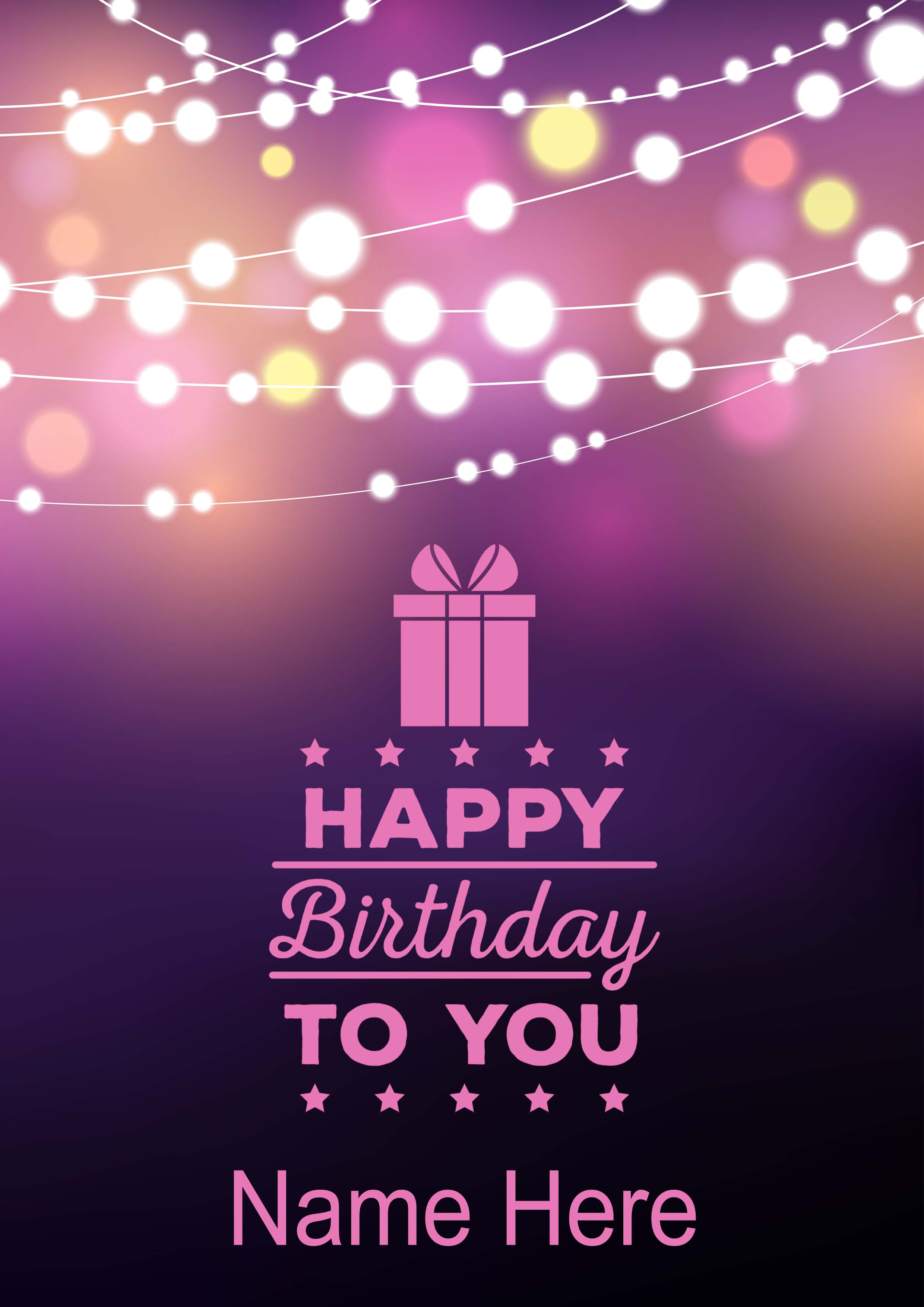 Happy Birthday To You Lights Background MyCards